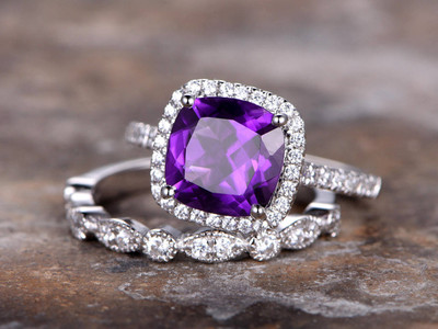 Cheap Amethyst wedding ring set