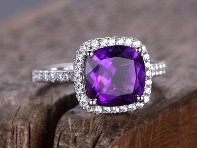 8mm Cushion Amethyst engagement ring rose gold plated