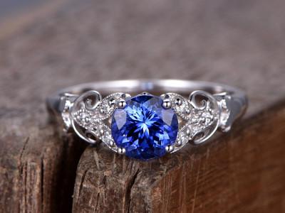 Blue Sapphire engagement ring Art Deco-BBBGEM Sterling Silver Sapphire Ring