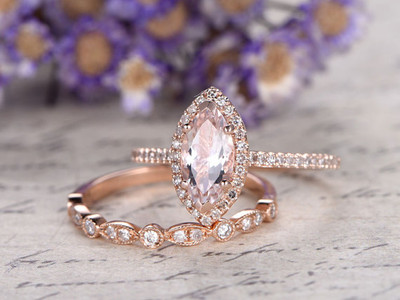 marquise morganite wedding ring sets