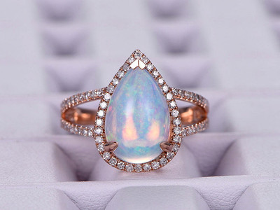 8x12mm Pear-shaped African Opal Engagement ring