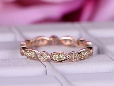 Peridot Wedding Ring-BBBGEM Marquise and Round Wedding Band