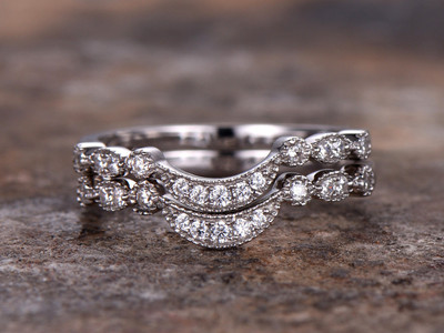Wedding ring set,CZ wedding band