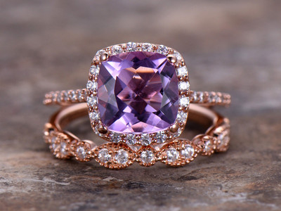 8mm Cushion Amethyst Engagement ring set 925 sterling silver