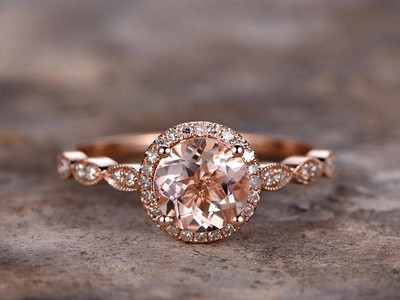 7mm Round Cut Morganite engagement ring rose glad plated