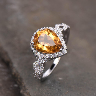 Pear shaped Citrine engagement ring