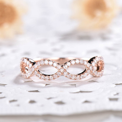 Natural Diamond Wedding Ring Solid 14K Rose Gold Anniversary Ring Curved Loop Flower Floral Stackable Band