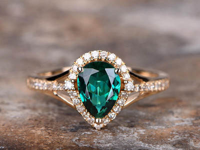 Emerald ring,emerald engagement ring-BBBGEM Pear Silver Emerald Ring