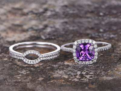 Amethyst engagement ring,amethyst ring