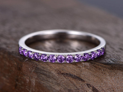 Amethyst ring,Amethyst wedding band,eternity band