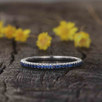 sapphire wedding band white gold-BBBGEM blue sapphire wedding band