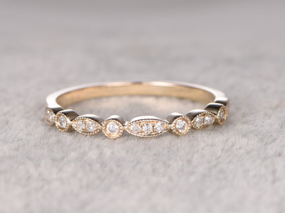Natural Diamonds Wedding Ring Solid 14K Yellow Gold Art Deco Marquise Style Milgrain Stacking Matching Band
