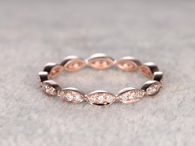 Round Diamond Wedding Ring Solid 14K Rose Gold Art Deco Marquise Three Stone Stacking Matching Band