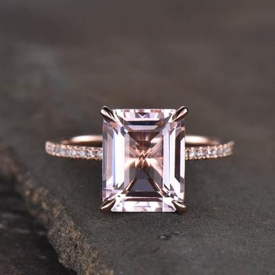 Emerald Cut Morganite Engagement Rings