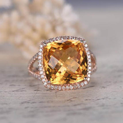 10ct cushion cut VS natural citrine engagement ring 0