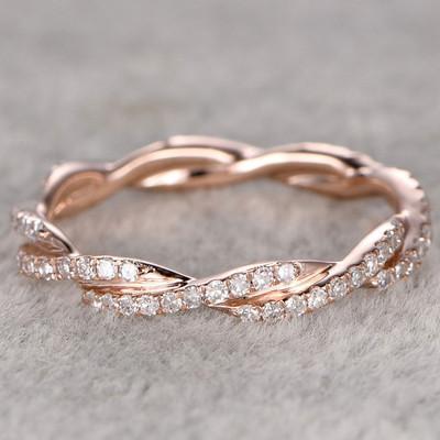 Twisted Diamond Wedding Ring rose gold-BBBGEM Twisted Diamond Ring