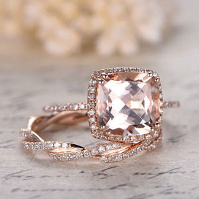 3 carat morganite engagement ring