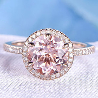 479244bd44e 8mm Round Cut Morganite and Diamond Engagement Ring 14k 18k Rose gold  6-Claw Prongs Halo Band