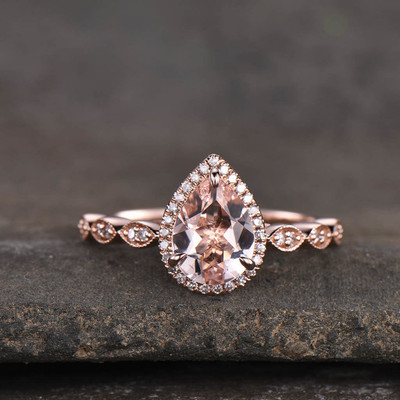 Pear Cut Morganite Ring Rose Gold 0