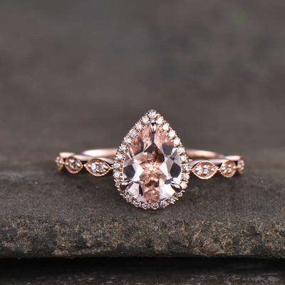 Pear Cut Morganite Ring Rose Gold 0