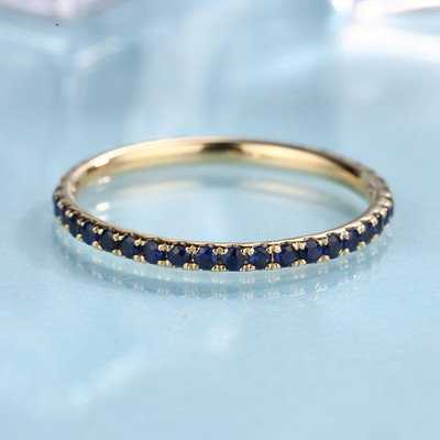 Eternity band Sapphire Wedding Band women 14K Gold Thin Dainty stacking matching Everyday rings promise birthstone simple Pave Anniversary