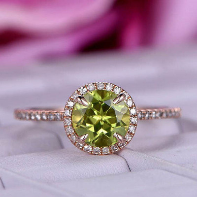 Round Cut Peridot Diamond Halo Engagement ring 0