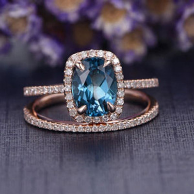 2pcs Oval cut London blue topaz bridal ring set,diamond engement ring,Solid 14k Rose gold wedding ring,custom made fine jewelry,Thin pave