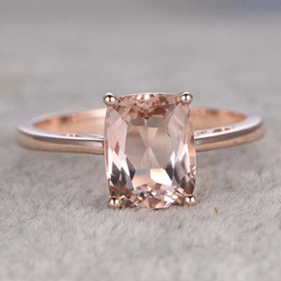 7x9mm Cushion Morganite Engagement Ring Diamond Wedding Ring 14k Rose Gold  Filigree
