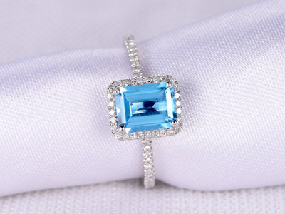 Emerald Cut 6x8mm VS Blue Topaz Engagement ring,14k White gold,Halo,Diamond Wedding Band,Personalized for her/him,Custom ring