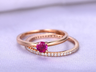 Ruby Ring Ring,Wedding Ring Set,4mm Round Cut Natural Ruby Engagement Ring,Full Eternity Diamond Wedding Band,Eternity Ring,14K Rose Gold