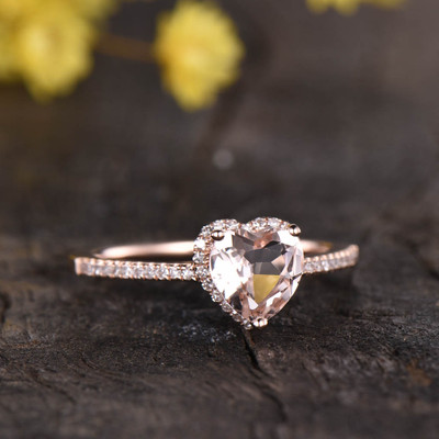 6mm Heart Shaped Morganite Engagement Ring 0