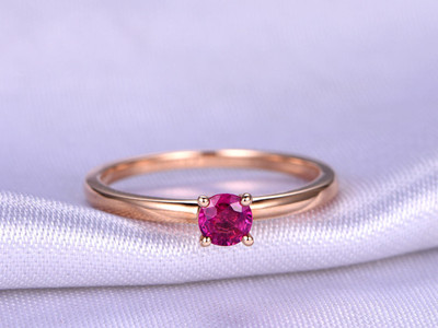 Ruby Ring,4mm Round Cut Natural Ruby Engagement Ring,Plain Gold Band,Solid 14K Rose Gold,Pink Gemstone Ring,Bridal Ring,Promise Ring