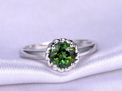 Tourmaline Ring,6mm Round Cut Tourmaline Engagement Ring,With Plain Gold Band,Natural Green Gem Stone,14K White Gold Ring,Bridal Ring