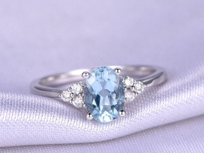 Aquamarine Ring,5x7mm Oval Cut Aquamarine Engagement Ring,Diamond Band,Natural Birthstone,14k White Gold Bridal Ring,Promise Ring