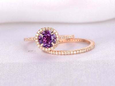Amethyst Diamond Halo Engagement Ring Set