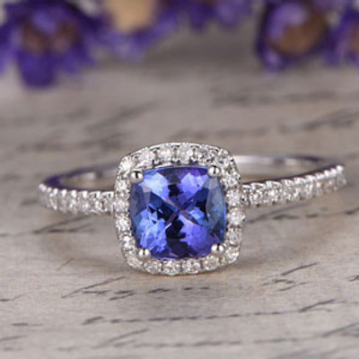 Blue tanzanite Engagement Ring,Cushion Cut gem wedding ring,14K White Gold promise ring,Diamonds Halo Ring,Art desc antique,prong pave set