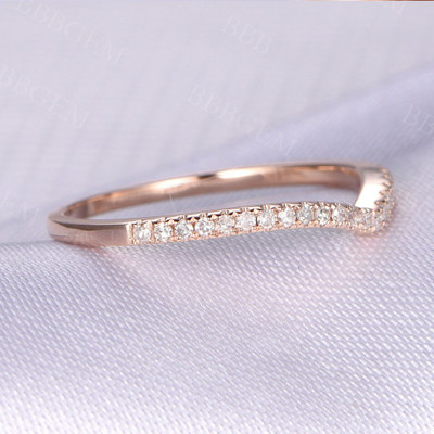 Natural diamond Wedding ring,Anniversary ring,Curved V 14k Rose gold,Half Eternity Matching Band,Personalized for her/him,Custom ring