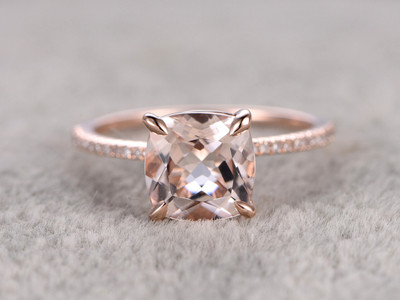 8mm Cushion Morganite Engagement Ring Diamond Wedding Ring 14k Rose Gold Claw Prongs Curved Basket Under