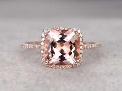 3 carat morganite engagement ring rose gold