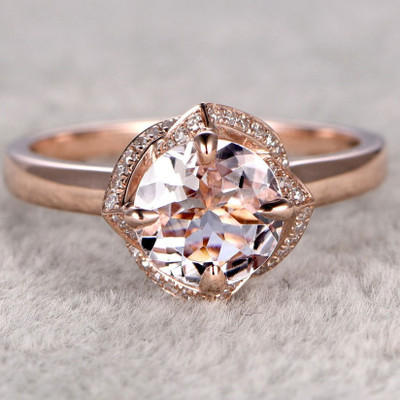 Round Morganite Engagement Ring