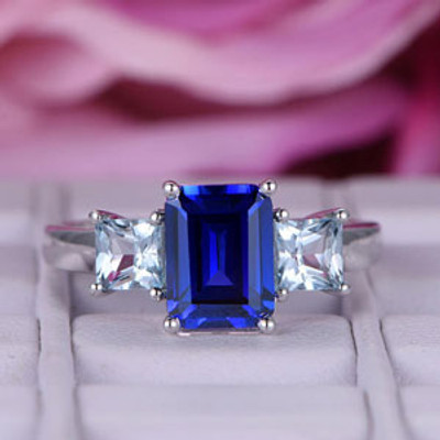 Blue Sapphire Ring With Baguette Topaz-BBBGEM Sapphire Ring