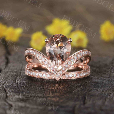 Unique pear shaped morganite engagement ring 06