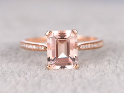 7x9mm Emerald Cut Morganite Engagement Ring Diamond Wedding Ring 14k Rose Gold Filigree Heart Under