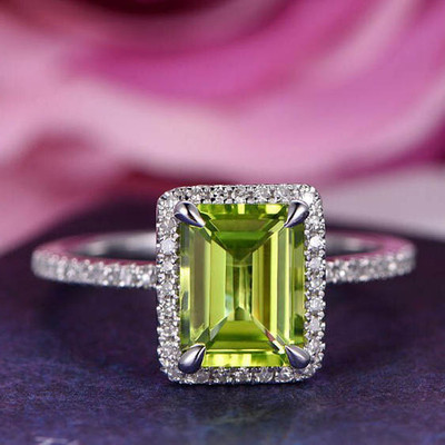 Emerald Cut Peridot Engagement Ring 0
