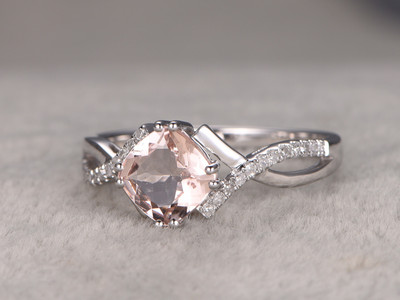 8mm Cushion Morganite Engagement Ring Diamond Wedding Ring 14k White Gold twisted split shank Pink Gemstone