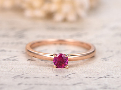 4mm Round Ruby Wedding Ring, Plain Band Bridal Ring,Ruby Engagement Ring,Solid 14K Rose Gold Promise Ring,Plain Band,Wedding Band,Promise