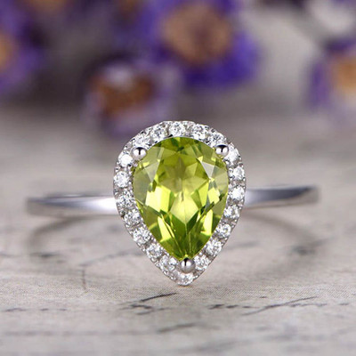 6x8mm pear cut Peridot ring,engagement ring 0