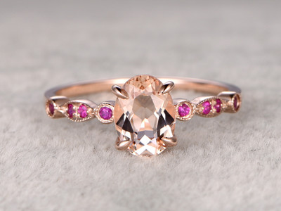 8x6mm Oval Morganite Engagement Ring Ruby Wedding Ring 14k Rose Gold Pink Milgrain Art Deco Antique Band