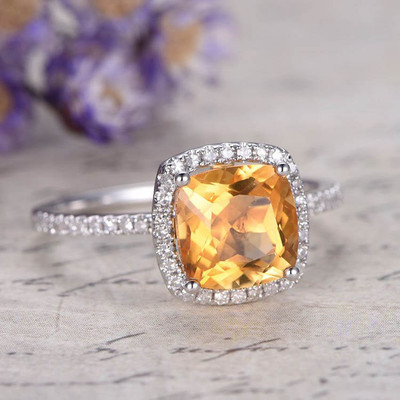cushion cut diamond halo citrine engagement ring 0