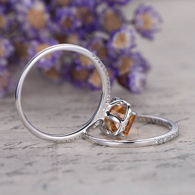 2pcs emerald cut citrine bridal ring set 2